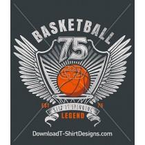 Basketball Sport Shield Wings Banner Crest
