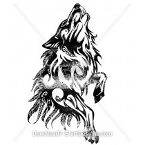 Tribal Ethnic Feather Wolf Silhouette
