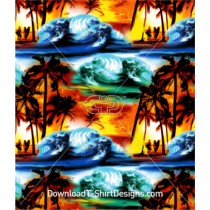 Air Brushed Palm Tree Beach Wave Surfer Seamless Pattern