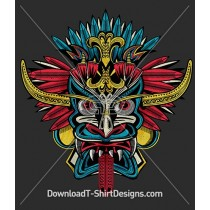Tribal Mask Tattoo Feathers Tongue
