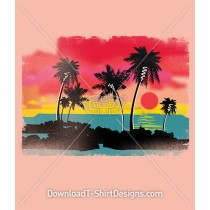 Retro Tropical Sunset Beach Palmtrees