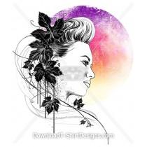 Beautiful Woman Portrait Flowing Leaves Gradient Moon