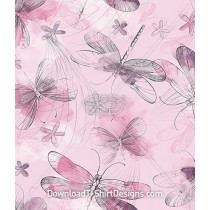 Pink Flower Insect Dragonfly Seamless Pattern
