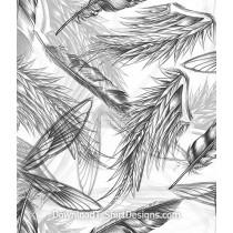 Soft Feathers Wings Monochromatic Seamless Pattern