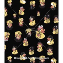 Quirky Character Rock Duck Band Music Seamless Pattern