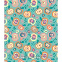 Cute Flower Apple Fruit Seamless Pattern
