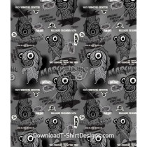 Retro Marsh Monster Character Seamless Pattern