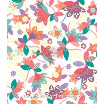 Paper Cut Floral Flower Leaves Seamless Pattern