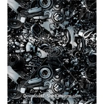 Mechanic Robot Metal Parts Cogs Seamless Pattern