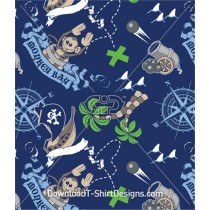 Monkey Pirate Ship Treasure Island Seamless Pattern