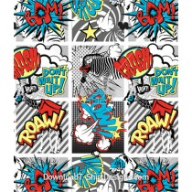 Super Hero Animal Pop Art Comic Strip Seamless Pattern