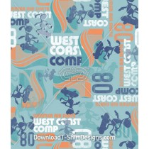 West Coast Skateboard Dog Character Seamless Pattern
