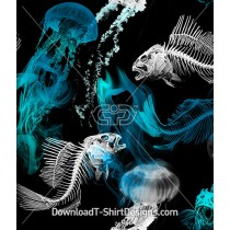 X-Ray Skeleton Fish Jellyfish Seamless Pattern
