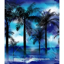 Tropical Palms Blue Ocean Surfer Seamless Pattern