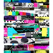 DJ Mash Up Test Pattern Collage Seamless Pattern