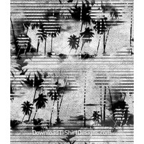 Monochromatic Striped Palm Seamless Pattern