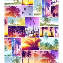 Miami Beach Tropical Collage Seamless Pattern