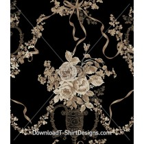 Elegant Decorative Victorian Floral Ribbon Seamless Pattern