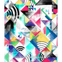 Colorful Watercolor Painted Geometric Block Seamless Pattern