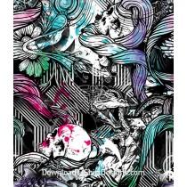 Tattoo Paint Sprayed Koi Fish Skull Seamless Pattern