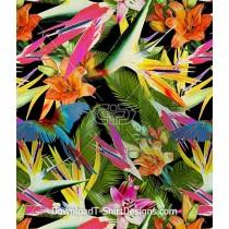 Tropical Bird Flower Foliage Seamless Pattern