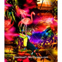 Psychedelic Color Airbrushed Tropical Flamingo Seamless Pattern