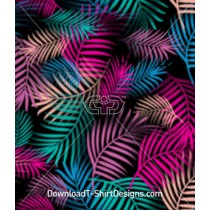 Colorful Tropical Palm Leaf Seamless Pattern