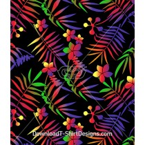 Bright Color Gradient Tropical Palm Leaf Seamless Pattern