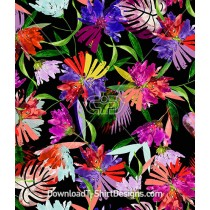 Bright Color Painted Tropical Flower Seamless Pattern