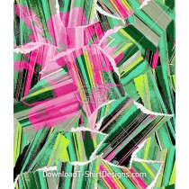 Green Pink Abstract Palm Leaves Seamless Pattern