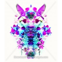 Exotic Bird Mirrored Tropical Orchid Flowers