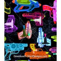 Bright Neon X-Ray Water Pistol Seamless Pattern
