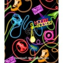 Retro Neon Bright Lights Music Seamless Pattern