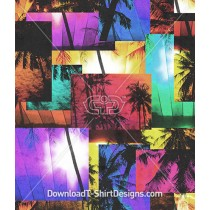 Palm Beach Neon Color Photo Seamless Pattern