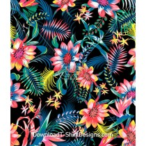 Colorful Mexican Tropical Fiesta Floral Seamless Pattern