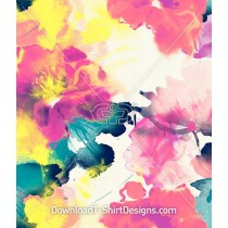 Pink Yellow Abstract Watercolor Bloom Seamless Pattern
