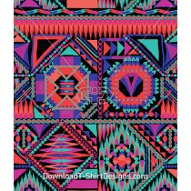 Bright Color Geometric Aztec Seamless Pattern