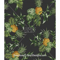 Vintage Tropical Pineapple Palm Leaf Seamless Pattern