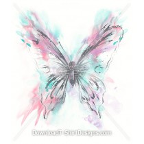 Pastel Watercolor Splash Butterfly