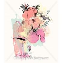 Pastel Flamingo Bird Hibiscus Flower Paradise