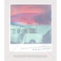Pastel Surfboard Kombi Van Polaroid