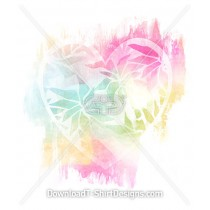 Painted Pattern Heart Silhouette