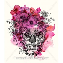 Mexican Sugar Skull Water Color Flowers