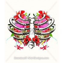 Floral Bouquet Heart Skeleton Rib Cage
