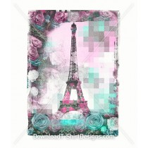 Paris Eiffel Tower Pastel Floral Frame