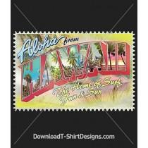 Retro Hawaiian Tourist Postcard