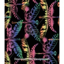Rainbow Color Feather Dragonfly Seamless Pattern