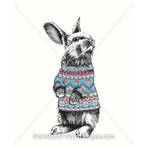 Illustrated Winter Bunny Rabbit Animal Pattern Jumper