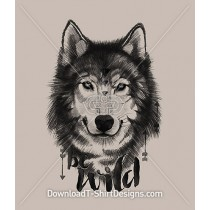 Be Wild Illustrated Wolf Animal Portrait