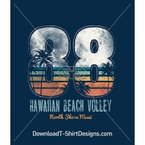 Retro Hawaiian Beach Volleyball Sports